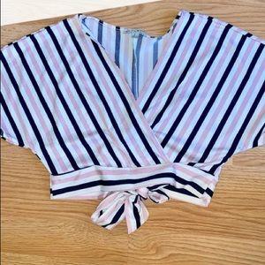 Stripe overlap cute top